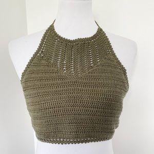 TAYLOR & SAGE Green Crochet Halter Crop Top Size L